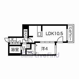 札幌市営東西線 白石駅 徒歩8分の賃貸マンション 2階1LDKの間取り