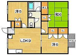 ラガーハイツ2 B棟[1階]の間取り