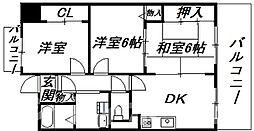 大阪府大阪市阿倍野区天王寺町北3丁目の賃貸マンションの間取り