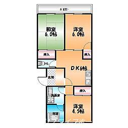 郡第二マンション[3階]の間取り