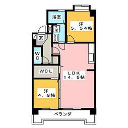 愛知県岡崎市井ノ口新町の賃貸マンションの間取り