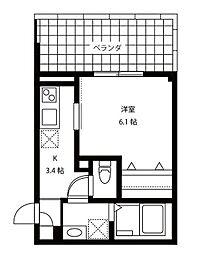 東急東横線 代官山駅 徒歩6分の賃貸マンション 2階1Kの間取り