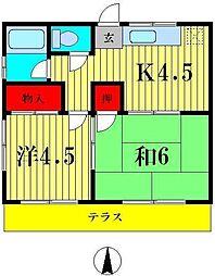 越川ハイム[1階]の間取り