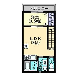 BELGRAVIA KITAMOCHIDA PREMIUM 2階1LDKの間取り