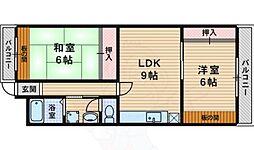 ハマハイツ 3階2LDKの間取り