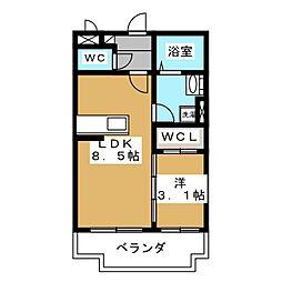 メゾン・ド・冨士 3階1LDKの間取り