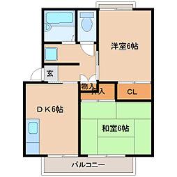 兵庫県尼崎市昭和通1丁目の賃貸アパートの間取り