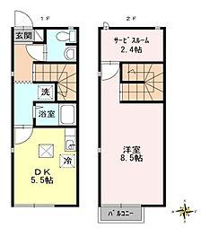 広島県東広島市三永3丁目の賃貸アパートの間取り