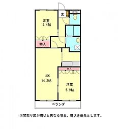 愛知県小牧市大字文津の賃貸マンションの間取り