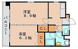 福岡県福岡市東区馬出5丁目の賃貸マンションの間取り