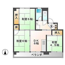 ビレッジハウス落合川 2号棟[1階]の間取り