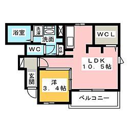 メゾン・ド・yu II 1階1LDKの間取り