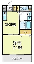 吉田7丁目 グレースA[404号室]の間取り