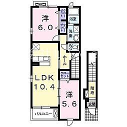 フレグランスB[2階]の間取り