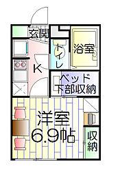 東京都足立区舎人2丁目の賃貸アパートの間取り