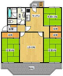 広いバルコニー付の3LDKマンション。高根台住宅[D棟102号室]の間取り