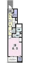 JR津山線 法界院駅 4.4kmの賃貸アパート 1階1Kの間取り