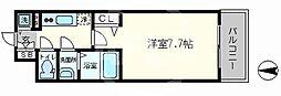 ラピーヌ南堀江レジデンス 7階1Kの間取り