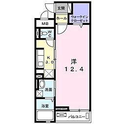 西武新宿線 狭山市駅 バス12分 広瀬消防署前下車 徒歩4分の賃貸マンション 2階1Kの間取り