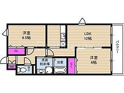 メゾンドフルール3[2階]の間取り