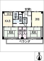 ビレッジハウス津 3号棟[2階]の間取り