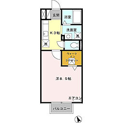 愛知県安城市美園町2丁目の賃貸アパートの間取り