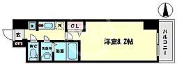 スプランディッド難波WEST 13階1Kの間取り