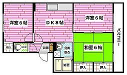 広島県広島市安佐南区大町西1丁目の賃貸アパートの間取り
