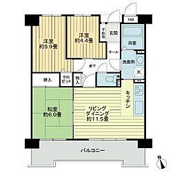 愛知県名古屋市天白区梅が丘3丁目の賃貸マンションの間取り