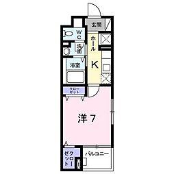 京王相模原線 京王堀之内駅 徒歩13分の賃貸マンション 2階1Kの間取り