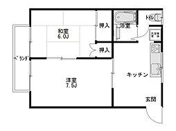 ダイセンアパートB[202号室]の間取り
