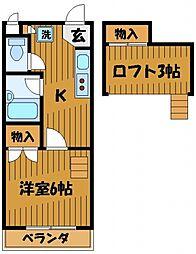 東京都国分寺市南町1丁目の賃貸アパートの間取り
