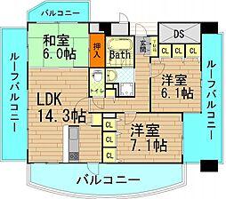 ダイヤパレス南堀江[15階]の間取り