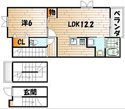 ラインハイム足立山B[3階]の間取り