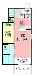JR御殿場線 上大井駅 徒歩4分の賃貸アパート 1階1LDKの間取り