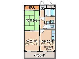 京都府京都市伏見区横大路貴船の賃貸マンションの間取り