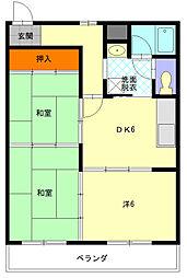 長井マンション[301号室]の間取り