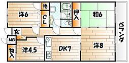 山内ヴィラージュ井堀[8階]の間取り