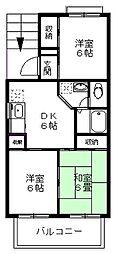 深大寺パークサイドハウス[201号室]の間取り