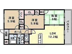 ステラルーチェ 4階3LDKの間取り