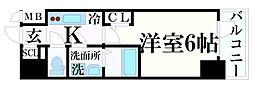 エスリード神戸レジデンス 5階1Kの間取り