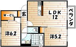ウィング富久 A棟[2階]の間取り
