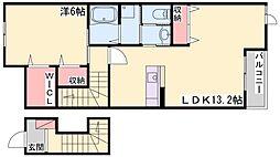 ブリラテ ラ ルーナII 2階1LDKの間取り
