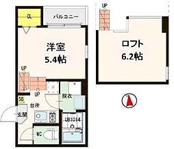 仙台市営南北線 黒松駅 徒歩5分の賃貸アパート 2階1Kの間取り