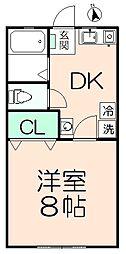 ドーム多摩J棟 2階1DKの間取り