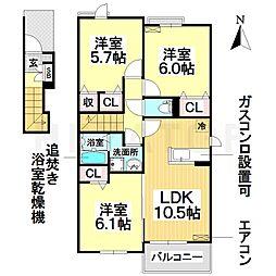 愛知県名古屋市瑞穂区井の元町の賃貸アパートの間取り