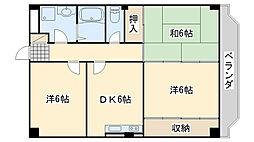 南海線 尾崎駅 徒歩7分の賃貸マンション 4階3DKの間取り