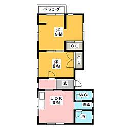 マンション豊栄[3階]の間取り
