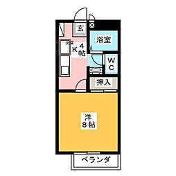 フォレスト庭瀬 B[1階]の間取り