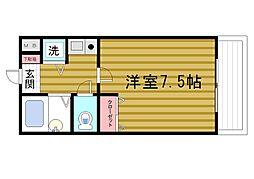 シャトラン弓木3番館[402号室]の間取り